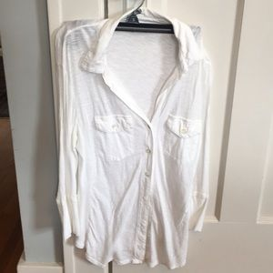 James Perse  size 3 slub cotton button up shirt.